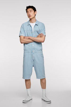 Zara Krótki kombinezon jeansowy