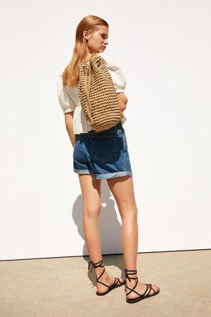 Zara Plecak z plecionki w kolorze naturalnym
