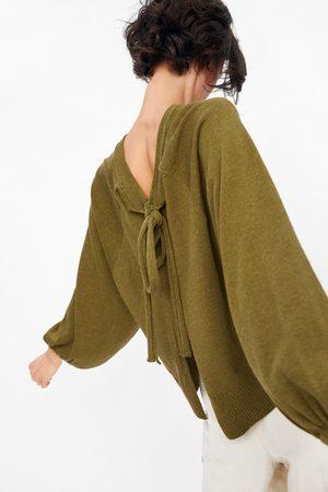 Zara Dzianinowy sweter z wiązaniem