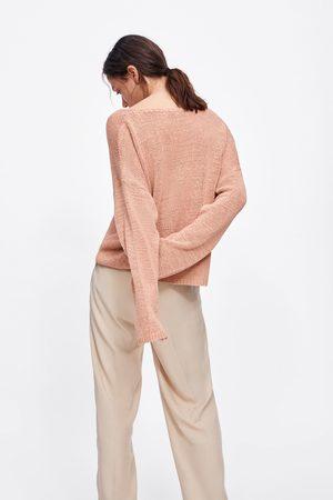 Zara Dzianinowy sweter z dekoltem w serek