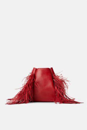 Zara Skórzana torebka typu worek z piórami