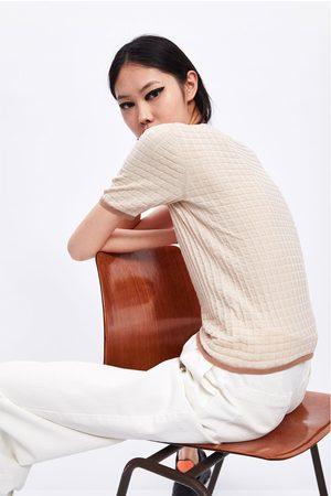 Zara Sweter z dzianiny strukturalnej z kontrastowym wykończeniem