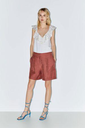 Zara Koszulka z łączonych tkanin z falbanką