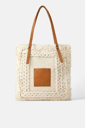 Zara Tekstylna torba typu shopper z wystrzępieniami