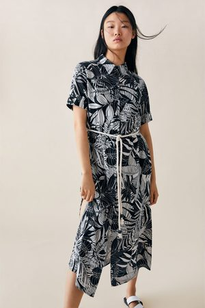 Zara Sukienka z nadrukiem i paskiem