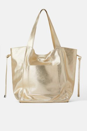 Zara Skórzana torba typu shopper średniej wielkości