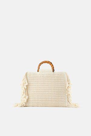 Zara Tekstylna torba typu shopper z frędzlami