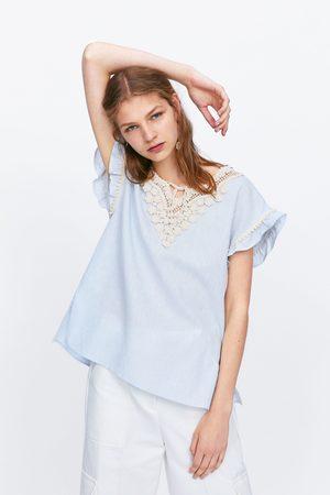 Zara Kobieta Topy - Top z łączonych tkanin z szydełkowymi wstawkami
