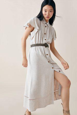 Zara Kobieta Sukienki - Sukienka z tkaniny w stylu rustykalnym z paskiem