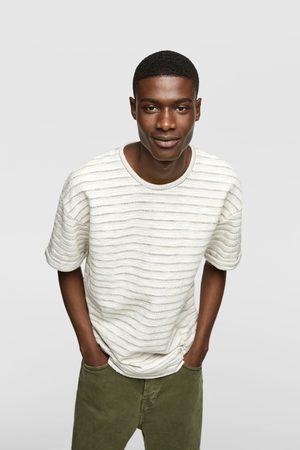 Zara Mężczyzna Z krótkim rękawem - Koszulka z tkaniny strukturalnej w paski
