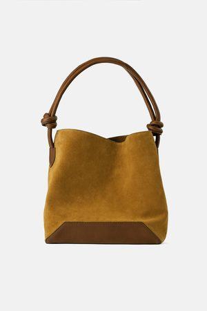 Zara Skórzana torebka worek typu soft