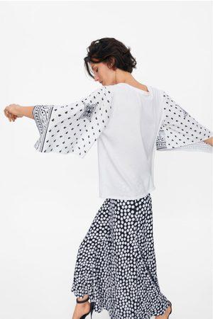 Zara Koszulka z rękawami z łączonych tkanin