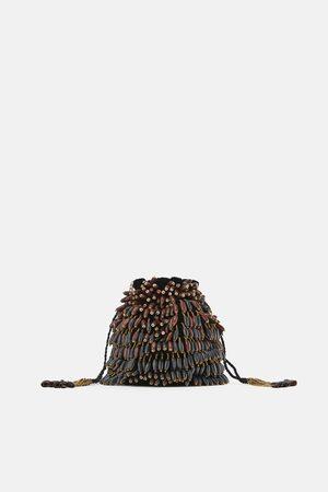 Zara Torba typu worek z drewnianymi koralikami
