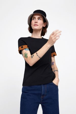 Zara Kobieta Z krótkim rękawem - Koszulka z rękawem z łączonych tkanin