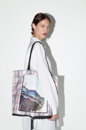 Zara Składana torba typu shopper z nadrukiem fotograficznym