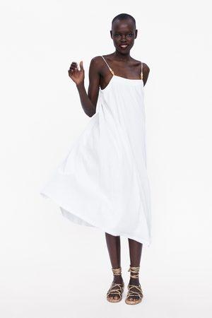 Zara Kobieta Sukienki - Sukienka z efektem gniecenia na ramiączkach