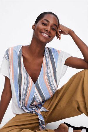 Zara Kobieta Z krótkim rękawem - Koszulka w paski z wiązaniem