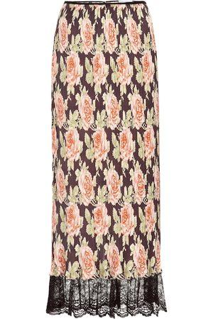 Paco rabanne Kobieta Spódnice plisowane - Lace-trimmed pleated floral skirt