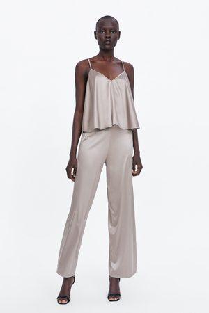Zara Spodnie z tkaniny satynowanej