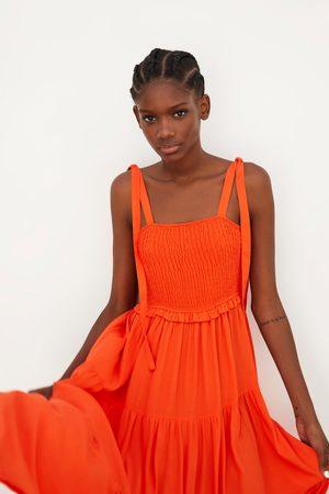 Zara Sukienka na ramiączkach z falbanką