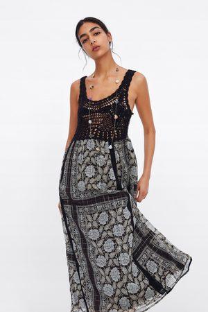 Zara Sukienka z nadrukiem i metalizowaną nicią