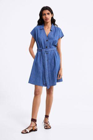 Zara Sukienka jeansowa z paskiem
