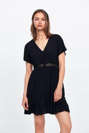 Zara Sukienka z łączonych tkanin z falbanką