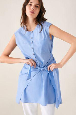 Zara Koszulowa sukienka z ozdobnym węzłem