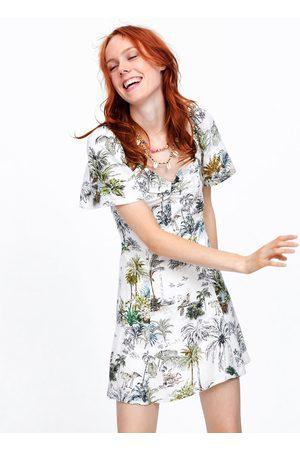 Zara Sukienka z nadrukiem w stylu tropikalnym