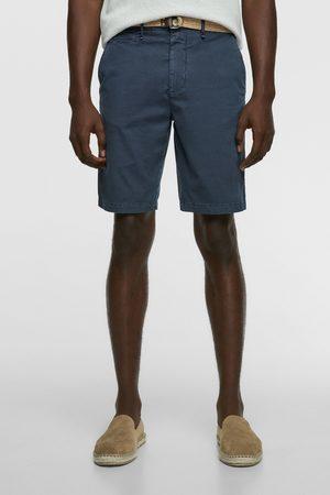 Zara Bermudy z tkaniny strukturalnej z paskiem