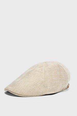 Zara Czapka z lnianej tkaniny strukturalnej