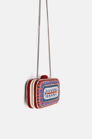 Zara Wielobarwna torebka do ręki z naturalnej plecionki