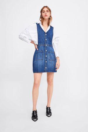 Zara Jeansowa sukienka ogrodniczka z kieszeniami