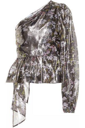 Ganni Kobieta Topy - Floral silk one-shoulder top
