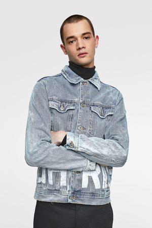 Zara Kurtka jeansowa z napisem