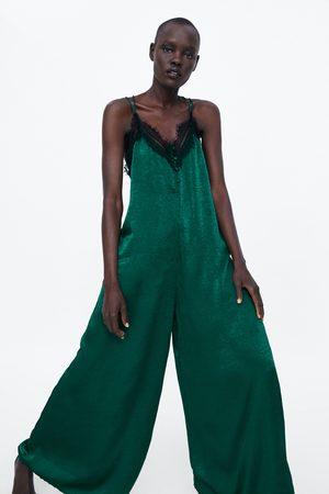 Zara Kombinezon w stylu bieliźnianym z tkaniny satynowanej