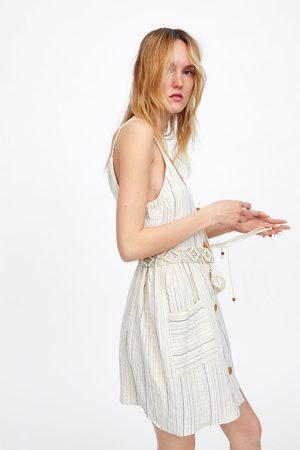 Zara Prążkowana sukienka z paskiem