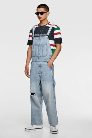 Zara Spodnie ogrodniczki jeansowe w stylu vintage