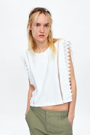 Zara Koszulka o krótszym kroju z koronką blonda