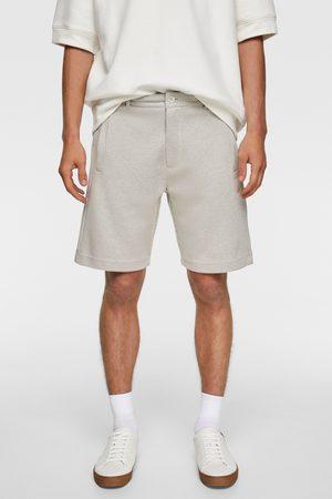 Zara Bermudy z tkaniny strukturalnej z efektem kratki