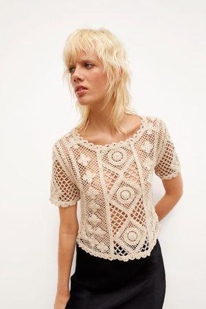 Zara Koszulka z szydełkowymi wstawkami