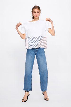 Zara Koszulka w paski ze wstawkami z łączonych tkanin