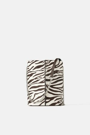 Zara Skórzana torebka listonoszka typu worek w zwierzęcy deseń