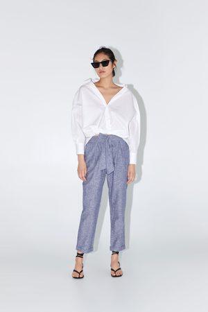 Zara Bawełniane spodnie z wiązaniem