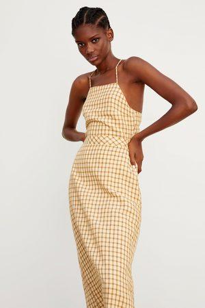 Zara Kobieta Sukienki - Sukienka z tkaniny rustykalnej w kratę