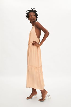 Zara Długa sukienka z falbankami