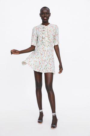Zara Wzorzysta sukienka z falbankami