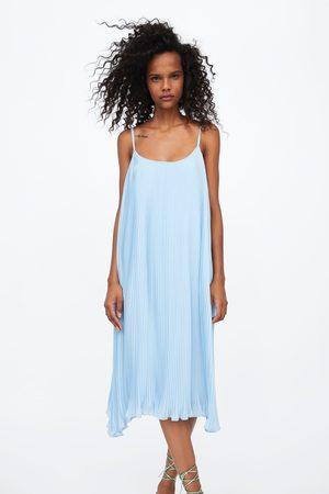 Zara Plisowana sukienka na ramiączkach