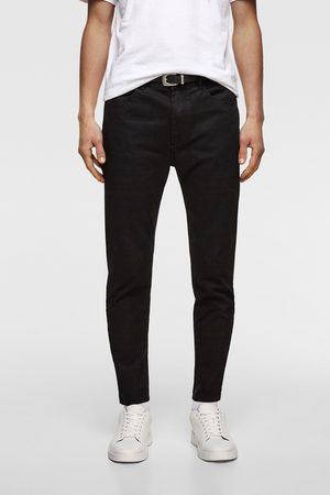 Zara Mocno dopasowane spodnie rurki z paskiem