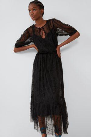 Zara Kobieta Sukienki - Sukienka z tkaniny plumeti